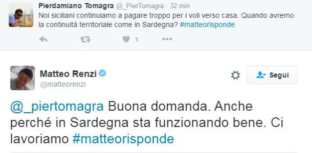 Il tweet di Renzi sulla continuità aerea